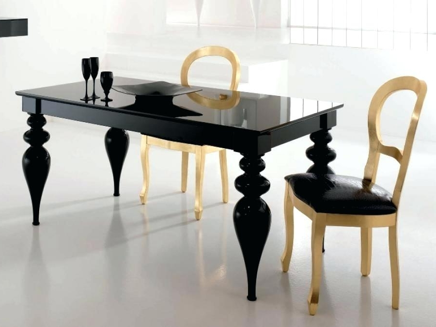 Widely Used Black Gloss Dining Tables Inside Unbelievable Black Gloss Dining Table And Chairs Image Concept (View 17 of 20)