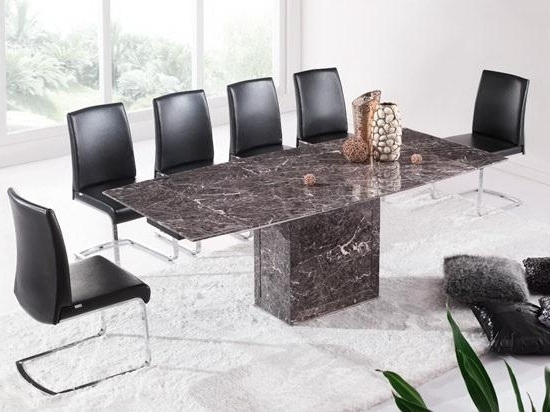Widely Used Brown & Grey Extending Dining Table & 6 Chairs (Marble) – Kk Inside Extending Marble Dining Tables (View 17 of 20)