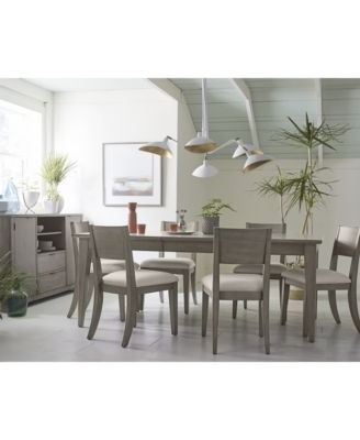 Widely Used Caira 7 Piece Rectangular Dining Sets With Upholstered Side Chairs Regarding Tribeca Grey Expandable Dining Furniture, 9 Pc (View 20 of 20)