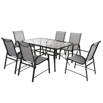 Widely Used Candice Ii 7 Piece Extension Rectangular Dining Sets With Slat Back Side Chairs Intended For Modern Outdoor Dining Sets (View 20 of 20)