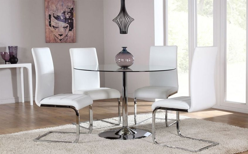 Widely Used Chrome Dining Tables And Chairs Throughout Orbit Round Glass & Chrome Dining Table – With 4 Perth White Chairs (View 6 of 20)