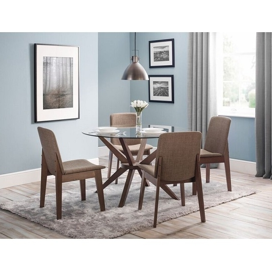 Widely Used Clear Glass Dining Tables And Chairs Throughout Domino Glass Dining Table Round In Clear With 4 Dining (View 12 of 20)