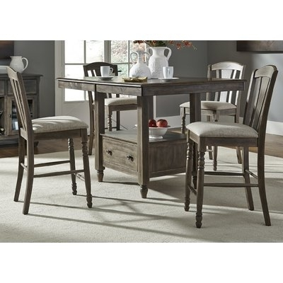 "Widely Used Combs 5 Piece 48 Inch Extension Dining Sets With Mindy Side Chairs Regarding Gracie Oaks Citronelle Slat Back 19"" Bar Stool With Cushion (Set Of (View 20 of 20)"