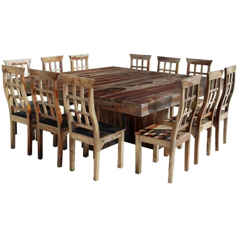 Widely Used Dallas Ranch Large Square Dining Room Table And Chair Set For 12 Intended For Square Dining Tables (View 19 of 20)