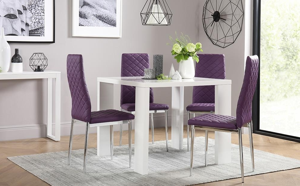 Widely Used Dining Tables And Purple Chairs Regarding Eden Square White High Gloss Dining Table With 4 Renzo Purple Chairs (View 20 of 20)