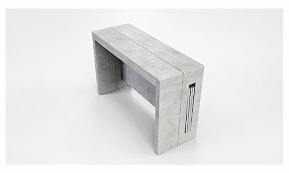 Widely Used Elasto Gray Concrete Melamine Extendable Console / Dining Table Within White Melamine Dining Tables (View 18 of 20)