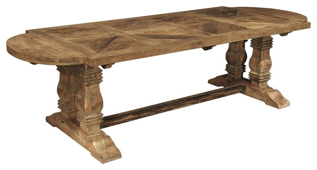 Widely Used Esa French Country Reclaimed Pine Parquet Oval Dining Table With Regard To Parquet Dining Tables (View 19 of 20)