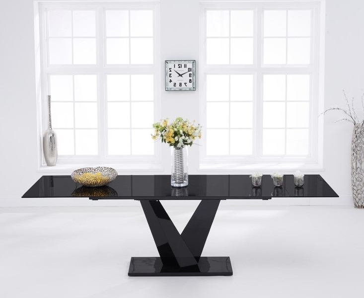 Widely Used Faro Black Glass 180Cm 260Cm Extending Dining Table In Black Extending Dining Tables (View 10 of 20)