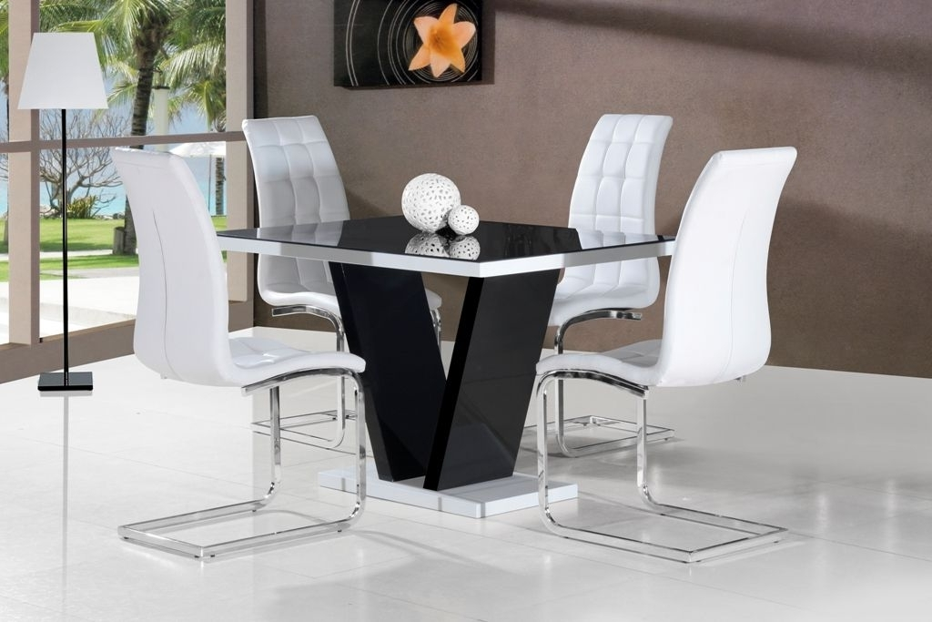 Widely Used Ga Vico Blg White Black Gloss & Gloss Designer 120 Cm Dining Set & 4 Pertaining To White High Gloss Dining Chairs (View 20 of 20)