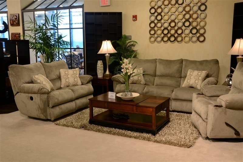 "Widely Used Gavin 2 Piece Reclining Sofa Set In ""taupe"" Color Fabric With Gavin 7 Piece Dining Sets With Clint Side Chairs (View 20 of 20)"