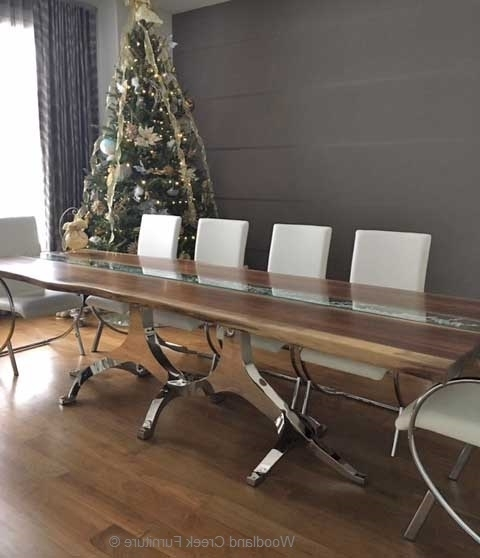 Widely Used Glass And Stainless Steel Dining Tables With Regard To Modern Wood Dining Table, Natural Edges, Stainless Steel (View 20 of 20)