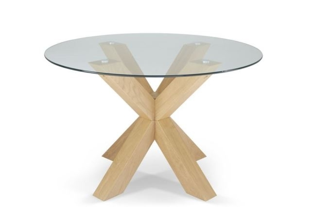 Widely Used Glass Dining Tables With Oak Legs Regarding Romford 120Cm Round Clear Tempered Glass Top Dining Table With Oak (View 20 of 20)