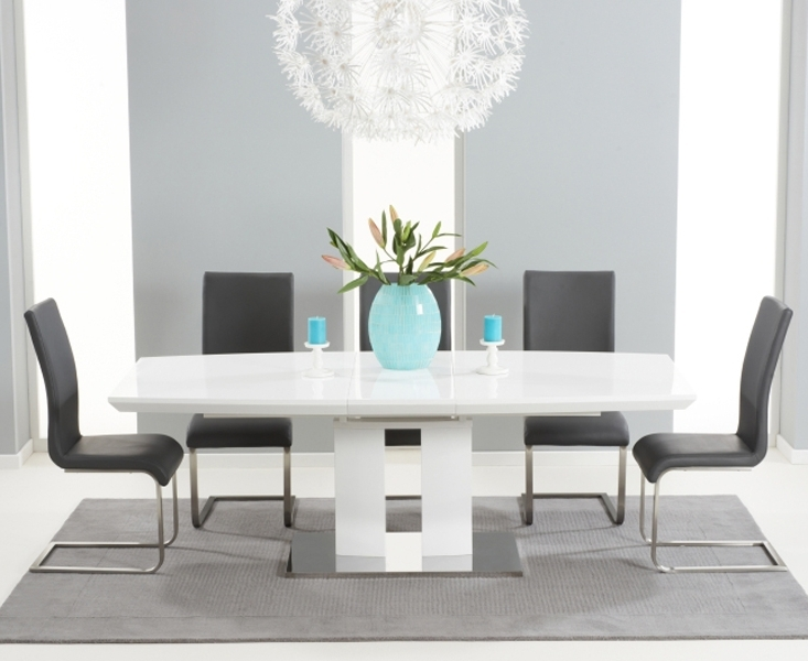 Widely Used Gloss Dining Sets With Richmond 180Cm White High Gloss Extending Dining Table With Malaga (View 10 of 20)