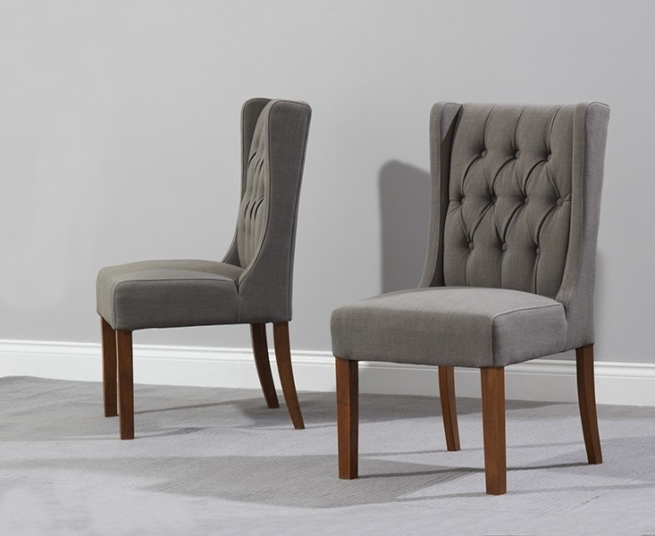 Widely Used Grey Dining Chairs Throughout Pair Of Stefini Grey Upholstered Buttoned Dining Chairs  Dark Legs (View 20 of 20)