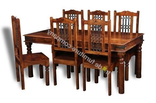 Widely Used Indian Dining Tables And Chairs With Regard To Jali Indian Furniture Dining Table & 6 Jali Chairs – Dining Room (View 10 of 20)