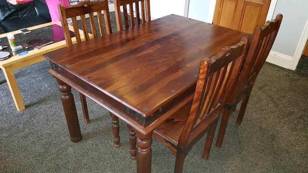 Widely Used Indian Sheesham Dining Table And 4 Chairs (View 10 of 20)