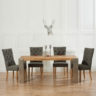 Widely Used Kingston Dining Tables And Chairs With Regard To Kingston Solid Oak Extending Dining Table With 6 Albany Grey Chairs (View 20 of 20)