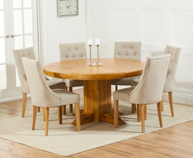 Widely Used Memphis Solid Oak 150Cm Round Pedestal Dining Set With 4 Poto Beige In Round Oak Dining Tables And 4 Chairs (View 20 of 20)