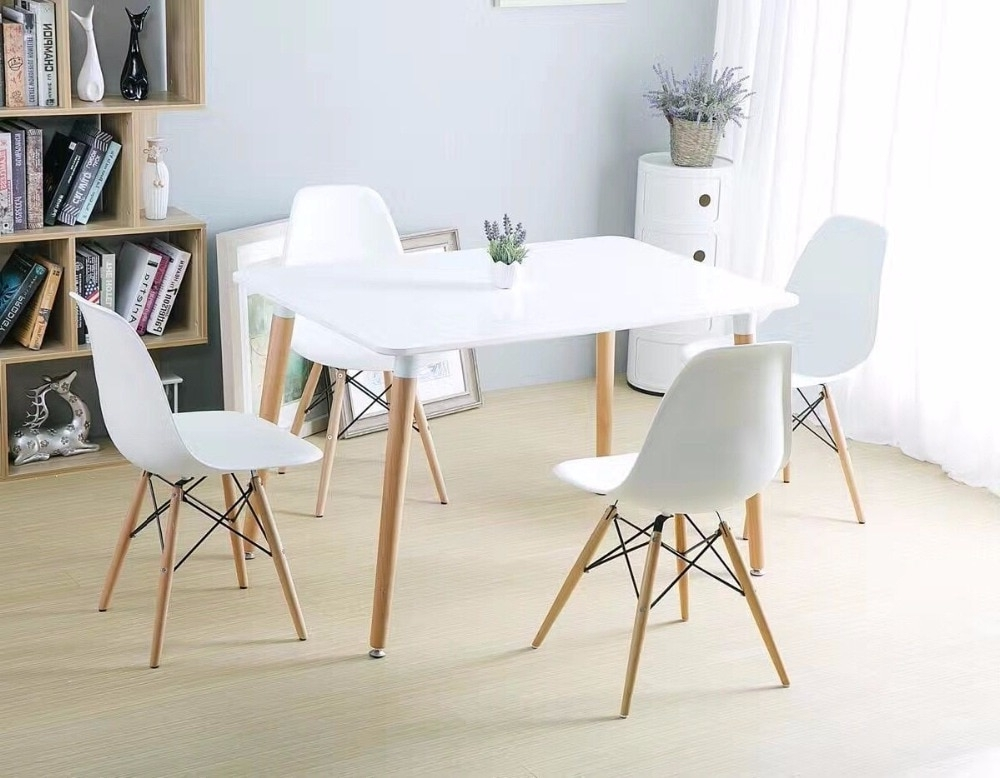 Widely Used Minimalist Modern Design Dining Furniture Set 1 Table 4 Chairs In Patterson 6 Piece Dining Sets (View 8 of 20)