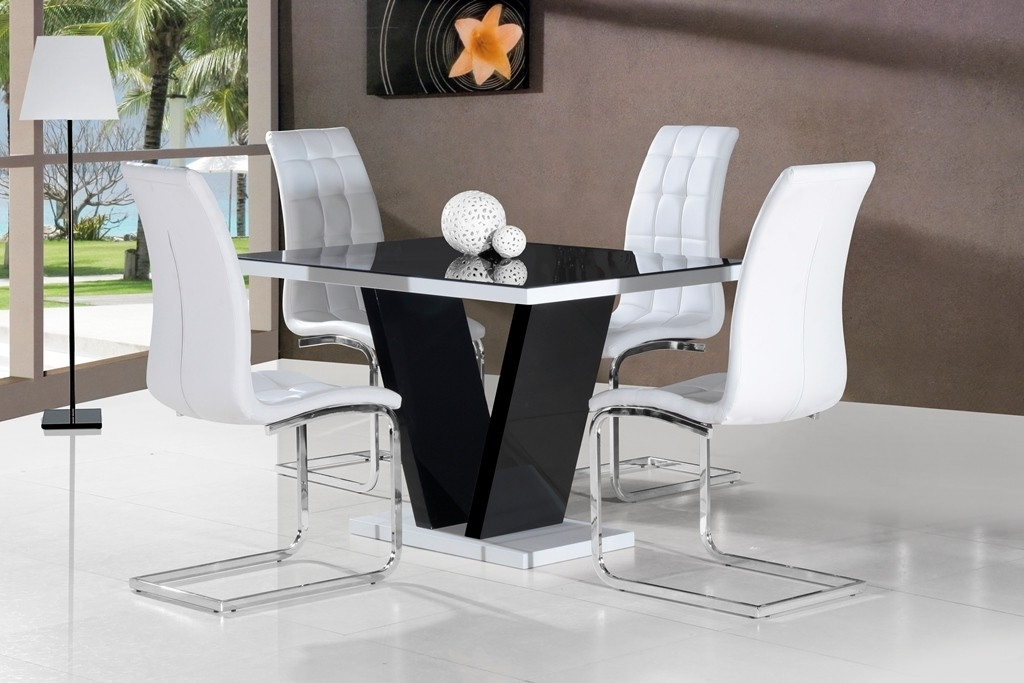 Widely Used Mozart Black High Gloss Dining Table 120cm Or 160cm Pertaining To Black Gloss Dining Furniture (View 14 of 20)