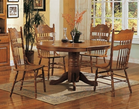 Widely Used Oak Dining Sets Regarding Nostalgia 5 Piece 42 Inch Round Dining Set With Press Back Chairs In (View 19 of 20)