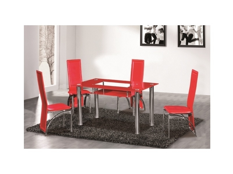 Widely Used Red Glass Dining Table 6 Seater – Homegenies Intended For Red Dining Tables And Chairs (View 9 of 20)