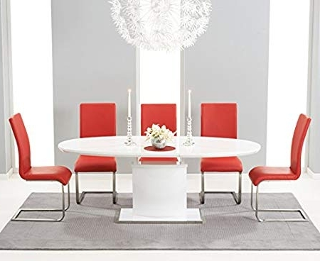 Widely Used Red Gloss Dining Tables Intended For Oak Furniture House Cadiz High Gloss 6 Seater Oval Extending Dining (View 8 of 20)