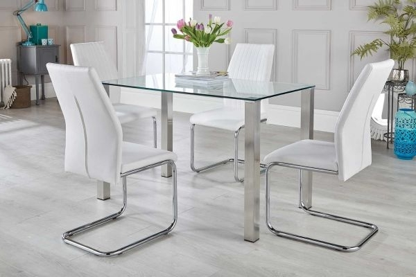 Widely Used Salerno Dining Table & White Chairs Set – Free Delivery (View 20 of 20)