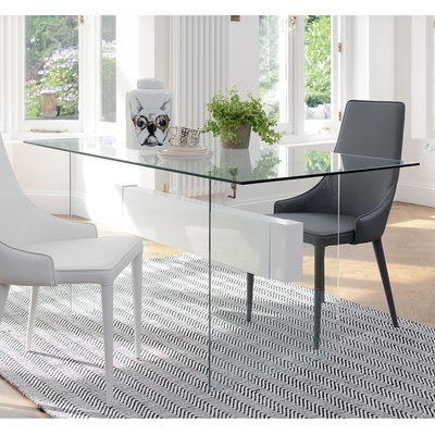 Widely Used Treble Glass 6 Seater Dining Table White – Dwell Inside Glass Dining Tables White Chairs (View 14 of 20)