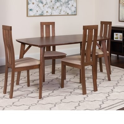 Winston Porter Huguley 5 Piece Solid Wood Dining Set In 2018 Within Famous Macie 5 Piece Round Dining Sets (View 20 of 20)