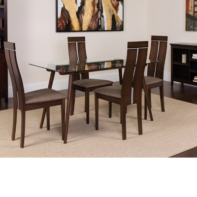 Winston Porter Humiston 5 Piece Solid Wood Dining Set In 2018 For Best And Newest Craftsman 9 Piece Extension Dining Sets With Uph Side Chairs (View 20 of 20)