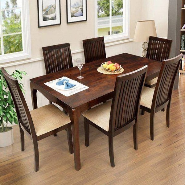 Wood Dining Tables And 6 Chairs For Well Known Ethnic Handicrafts Elmond 6 Seater Dining Set Including Dining Table (View 14 of 20)