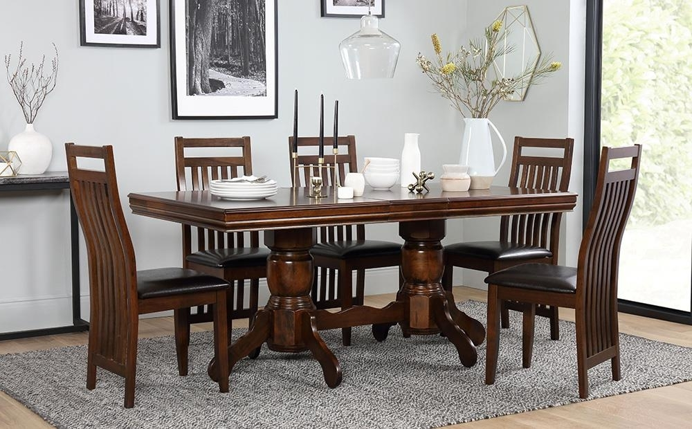 Wood Dining Tables And 6 Chairs Inside Latest Chatsworth Extending Dark Wood Dining Table And 6 Java Chairs Set (View 16 of 20)