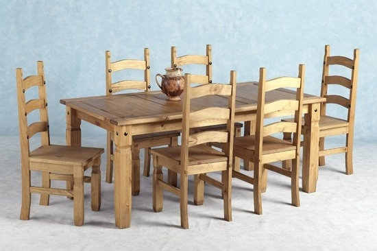 Wood Dining Tables And 6 Chairs Regarding Best And Newest Corona Wooden Dining Set With 6 Wooden Chairs  (View 18 of 20)