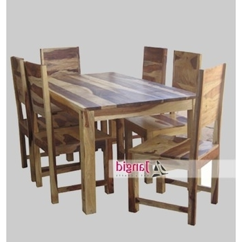 Wood Dining Tables Inside Well Liked Natural Indian Sheesham 6 Seaters Wooden Dining Tables And With (View 17 of 20)
