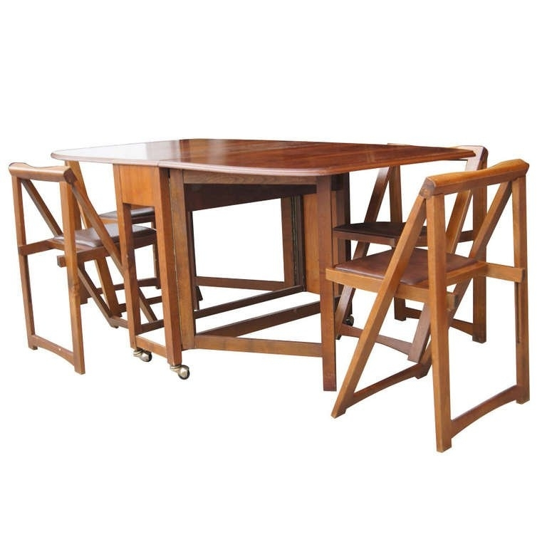 "Wood Folding Dining Tables For Favorite Vintage 68"" Wood Folding Dining Table With Four Chairs Set At 1Stdibs (View 14 of 20)"