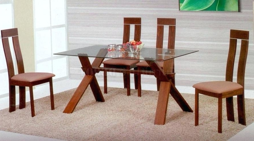 Wood Glass Dining Tables With Well Liked Wood And Glass Dining Table Room Top Wooden Set Popular Of With (View 20 of 20)