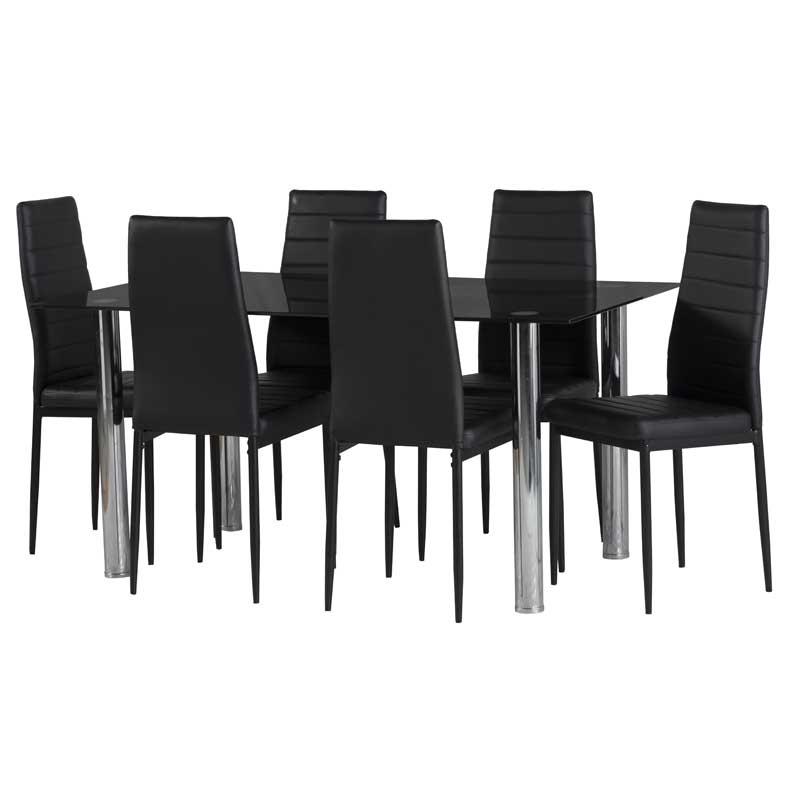 Wooden Dining Tables And 6 Chairs Within Fashionable Dior Black Glass Dining Table & 6 X Betty Dining Chair • Decofurn (View 20 of 20)