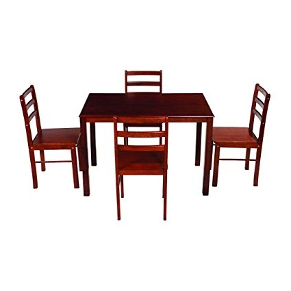 Woodness Camela Solid Wood Non Upholstered 4 Seater Dining Table Set With Regard To Most Current Non Wood Dining Tables (View 19 of 20)