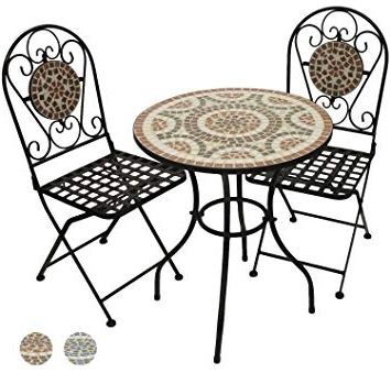 Woodside Mosaic Table And Chair Set – Terracotta: Amazon.co (View 16 of 20)