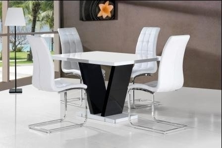 Zara Black And White High Gloss Dining Table + 4 Enzo Dining Chairs For Trendy Black High Gloss Dining Chairs (Gallery 4 of 20)