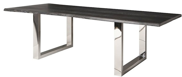 Zinnia Industrial Grey Oak Stainless Steel Dining Table – 78W Regarding Current Lyon Dining Tables (View 20 of 20)