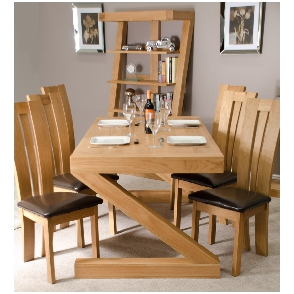 Zouk Solid Oak Designer Furniture Large Chunky Dining Room Table (Gallery 9 of 20)