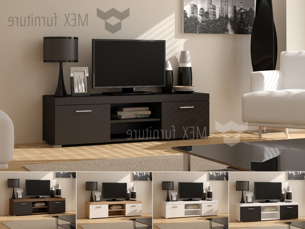 100Cm Width Tv Units Pertaining To Favorite High Gloss Tv Cabinets, Unit – Mex Furniture (Gallery 10 of 20)