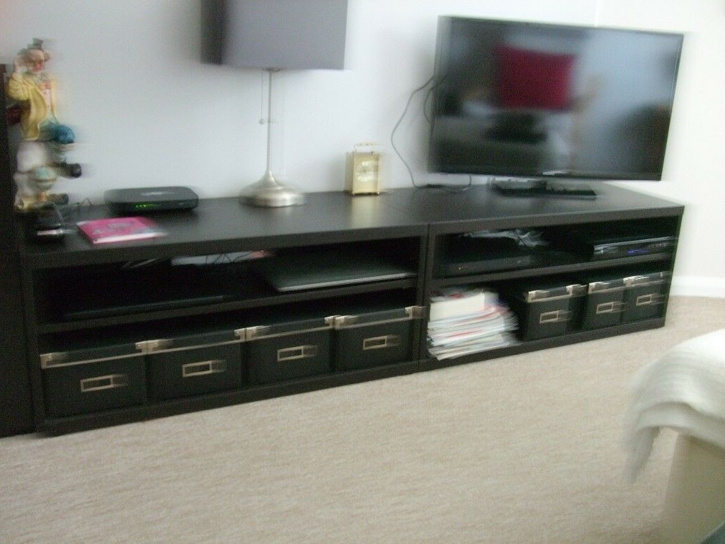 2 Tv Cabinets Black Wood Affect Size 900X400X400 Good Condition From Throughout Most Recent Black Tv Cabinets With Drawers (Gallery 20 of 20)