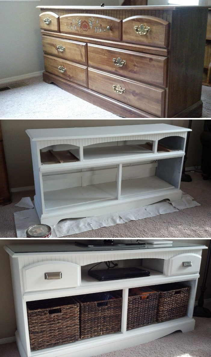 2017 A Coat Of White Paint, Removal Of Some Drawers, New Hardware And With Regard To Tv Stands With Baskets (Gallery 8 of 20)