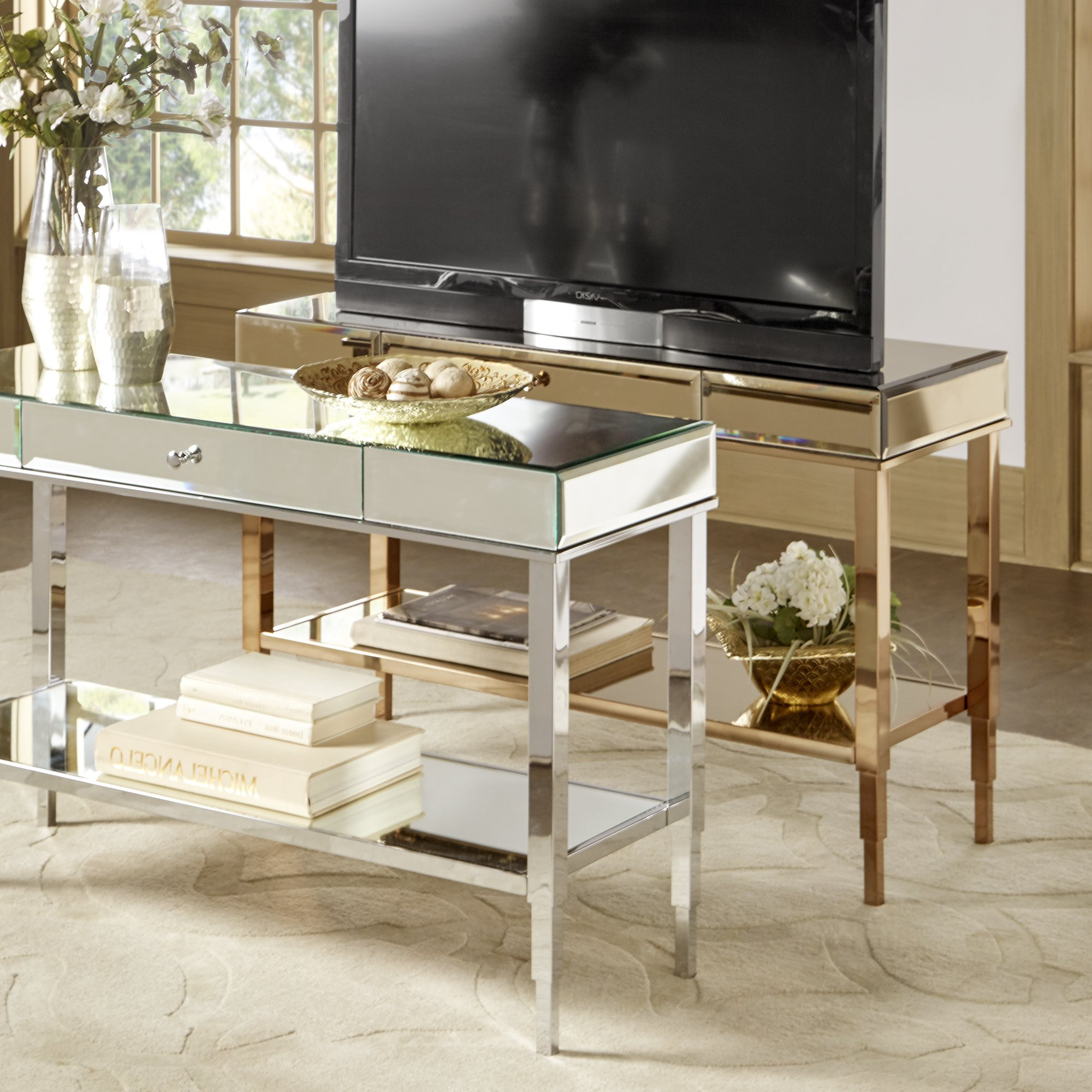 2017 Camille Glam Mirrored Tv Stand Console Table With Drawerinspire With Regard To Mirrored Tv Stands (View 1 of 20)