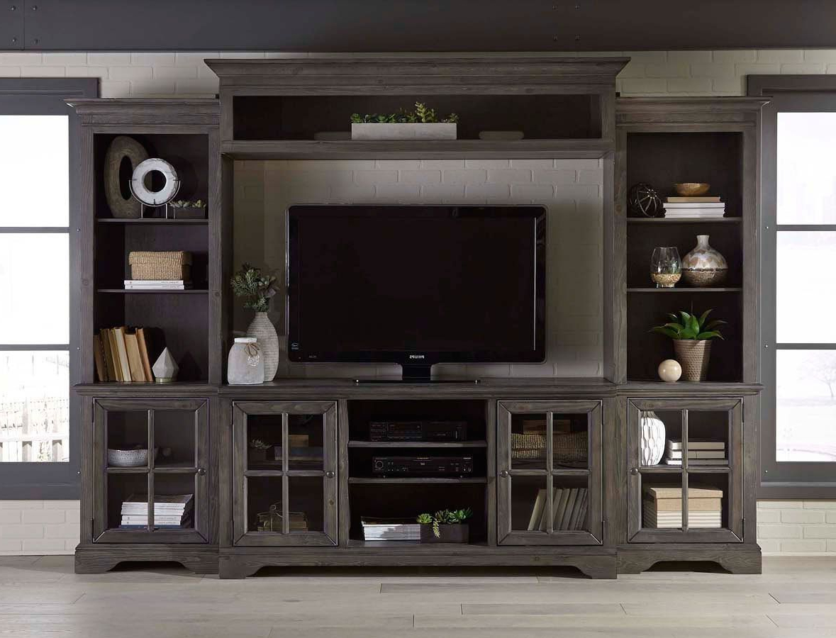 2017 Charcoal Brown 4 Piece Chic Entertainment Center – Dilworth (View 12 of 20)