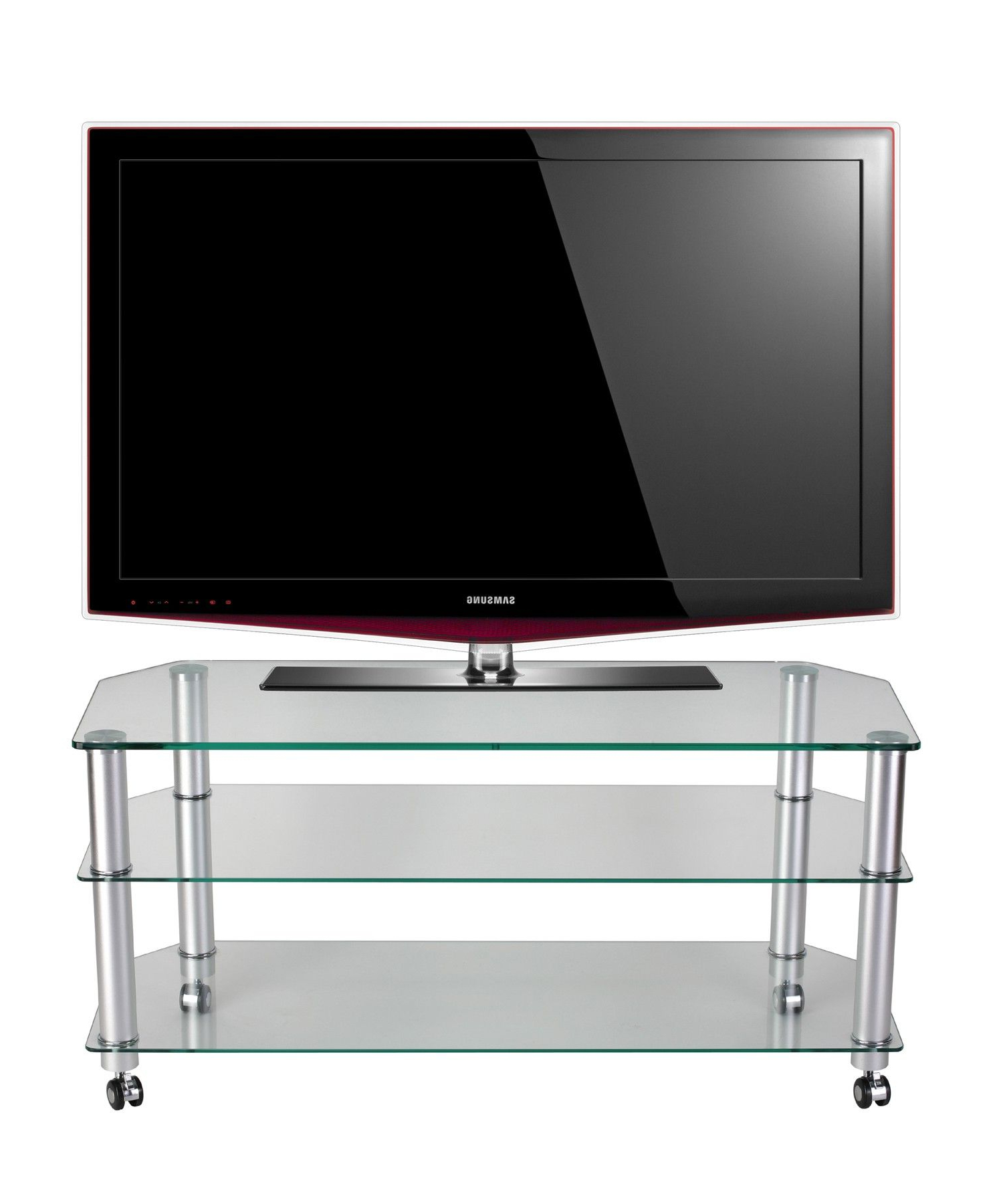 "2017 Clear Glass Tv Stand / Tv Trolleystil Stand For Up To 50"" Tvs With Regard To Stil Tv Stands (View 7 of 20)"