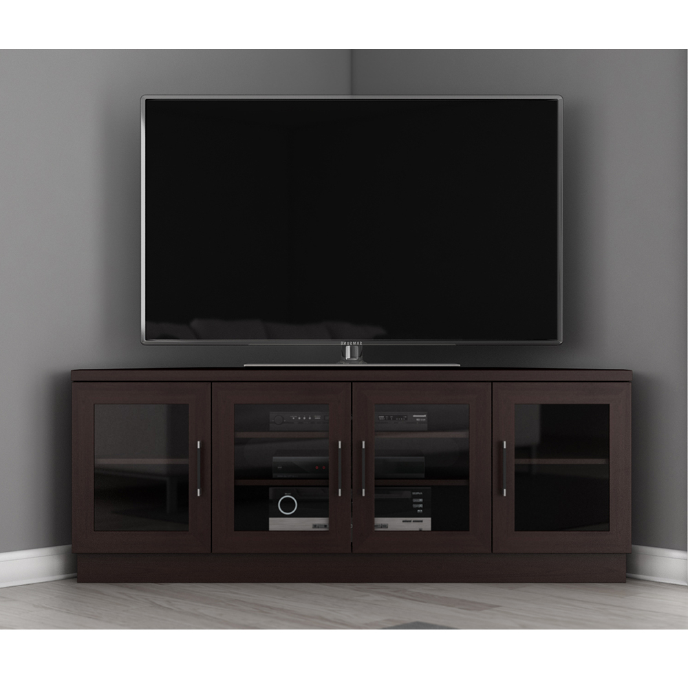 2017 Contemporary Corner Tv Stands Intended For Furnitech Ft60cccw – Contemporary Corner Tv Stand Media Console Up (View 6 of 20)